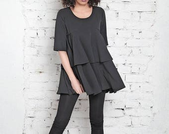 SALE Asymmetric Top/ Black Maxi Top/ Maxi Black Tunic/ Wrap Top/ Tunic Dress/ Black Dress/ Short Dress/ Plus Size Tunic/ Long Tunic