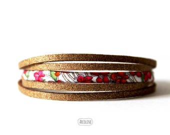 Bracelet Multi row suede gold Liberty