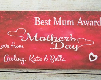 A10 Personalised Mothers Day...Best Mum Award...Plaque Sign Gift