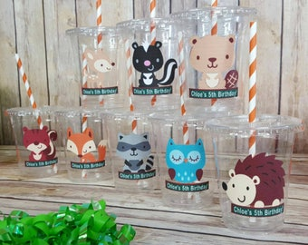 12 Personalized  Woodland Animals  Themed Party Cups with Lids and Straws