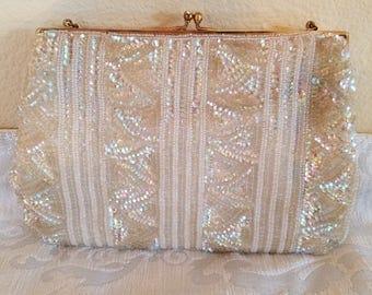 Vintage Josef Bead and Sequin Bag, Vintage Evening Bag, Vintage Beaded Bag, Wedding Bag, Vintage Handbags, Ivory Beaded Bag, Evening Bag