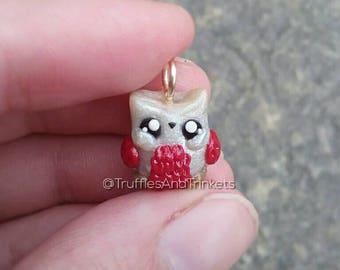Owl charm polymer clay animal, owl pendant necklace, miniature figure, mini kawaii animal jewlery gift.