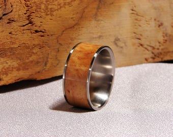 Vitex Burl and Titanium ring, Rare Burl inlay ring, Burl inlay ring, Indonesia Burl, Vitex Wood ring , wedding band with wood inlay