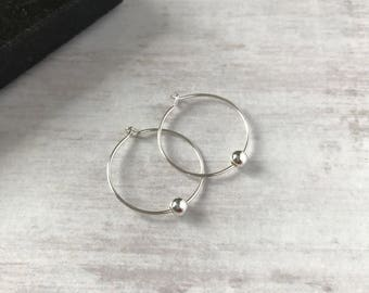 Sterling Silver Bead Hoop Earrings/Delicate/Minimalist/Bead/Sterling Silver/Hoop/Earrings/Everyday Wear/Gift/UK
