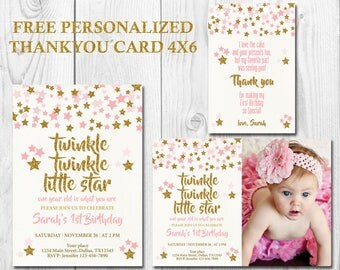 Twinkle Twinkle Little Star First Birthday Invitation, Girl First Birthday Invitation, Pink and Gold, Free Personalized Thank You Card