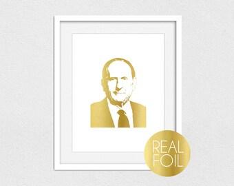 Thomas S Monson Foil Print // Gold Foil // Rose Gold Foil // Silver Foil // President Monson Portrait // Christian Art // LDS Foil Print