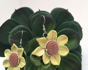 Sunshine Yellow Sunflower earrings