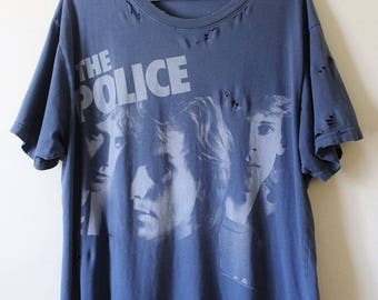 Shredded/ Distressed Police T Shirt X Large