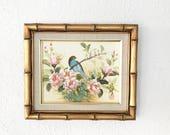 Vintage Asian Bird Painting • Gold Faux bamboo Frame • Hollywood Regency  • Modern Boho Decor