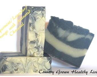 Peppermint Lavender Orange Activated Charcoal Bar Soap