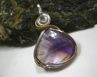 Natural, Faceted Ametrine Pendant in Sterling Silver & 14k Gold Filled Wire