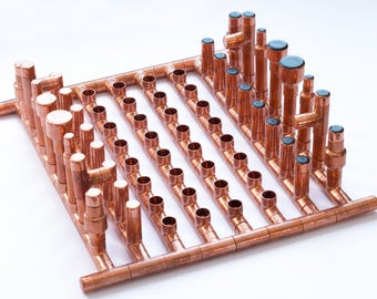 INDUSTRIAL CHESS 1, copper chess, metal chess, luxury chess, one of a kind chess, customized chess, original chess, handcrafted chess