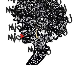 Word filled woman profile silhouette