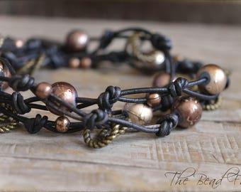 Leather Wrap Bracelet, Beaded Wrap Bracelet, Knotted Leather Bracelet, Knotted Leather Wrap Bracelet, Leather Necklace,