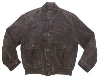 Vintage Hugo Boss Real Suede Bomber Jacket Mens Brown UK 40 EU 50 Excellent
