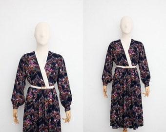 Vintage 70s Dress   Japanese Vintage Dress   Dark Navy Floral Dress   Wrap Top Dress   Party Dress    Dinner Dress   Dress for Wedding