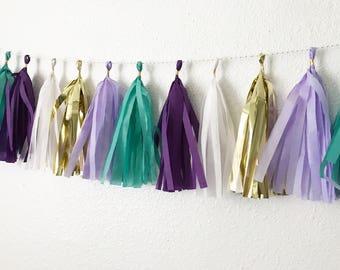 Tassel Garland | Tassel Banner | Mermaid Tassel Garland | Teal Party Decor | Purple, Teal, and Gold Tassel Banner | Mermaid Party Decor