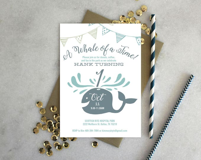 PRINTABLE Birthday Party Invitation | Whale of a Time