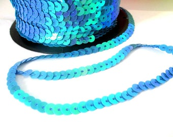 3 m tape 6mm blue sequin trim