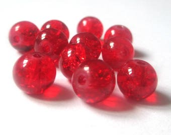 10 red beads, Crackle Glass 8mm