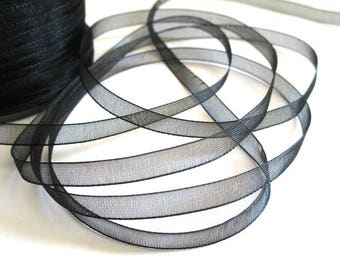 5 m organza Ribbon Black 6mm