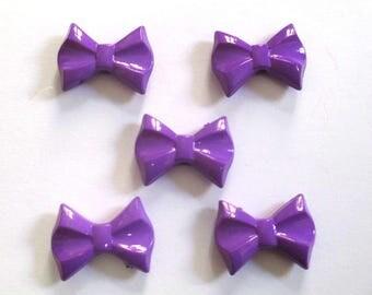 5 pearls bow purple acrylic 19x26x7mm