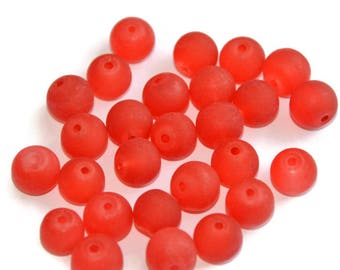 10 red beads, frosted glass 8mm