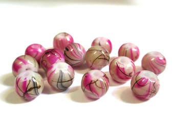 20 beads pink, Brown painted glass 6mm (2)