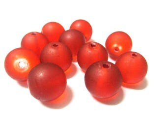 10 frosted orange glass beads 12mm (N-37)