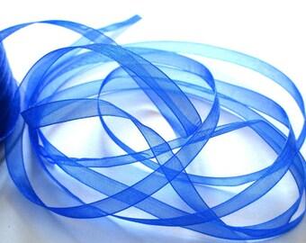 10 m 6mm dark blue organza Ribbon