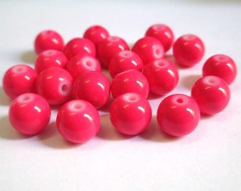 fuchsia glass painted (R-63) 8mm 10 beads