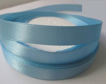 5 m 12mm sky blue colored satin ribbon