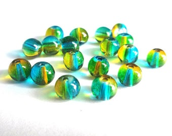 20 yellow green beads and translucent blue glass 6mm