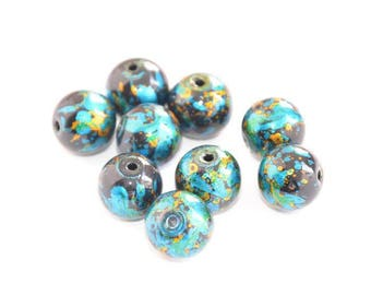 10 black glass beads speckled blue and gold 12mm