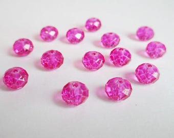 10 faceted pink Glass 8mm