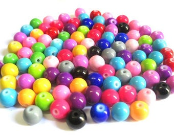 100 silver painted mix color 8mm