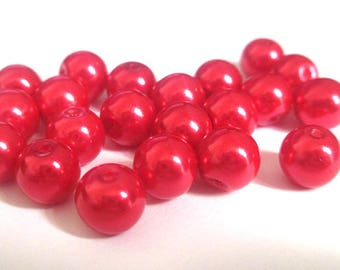 10 Red pearl beads, painted glass 8mm (F-30)