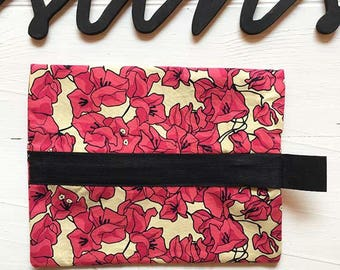 "Fabric pouch with zipper ""Bougainvillea"""