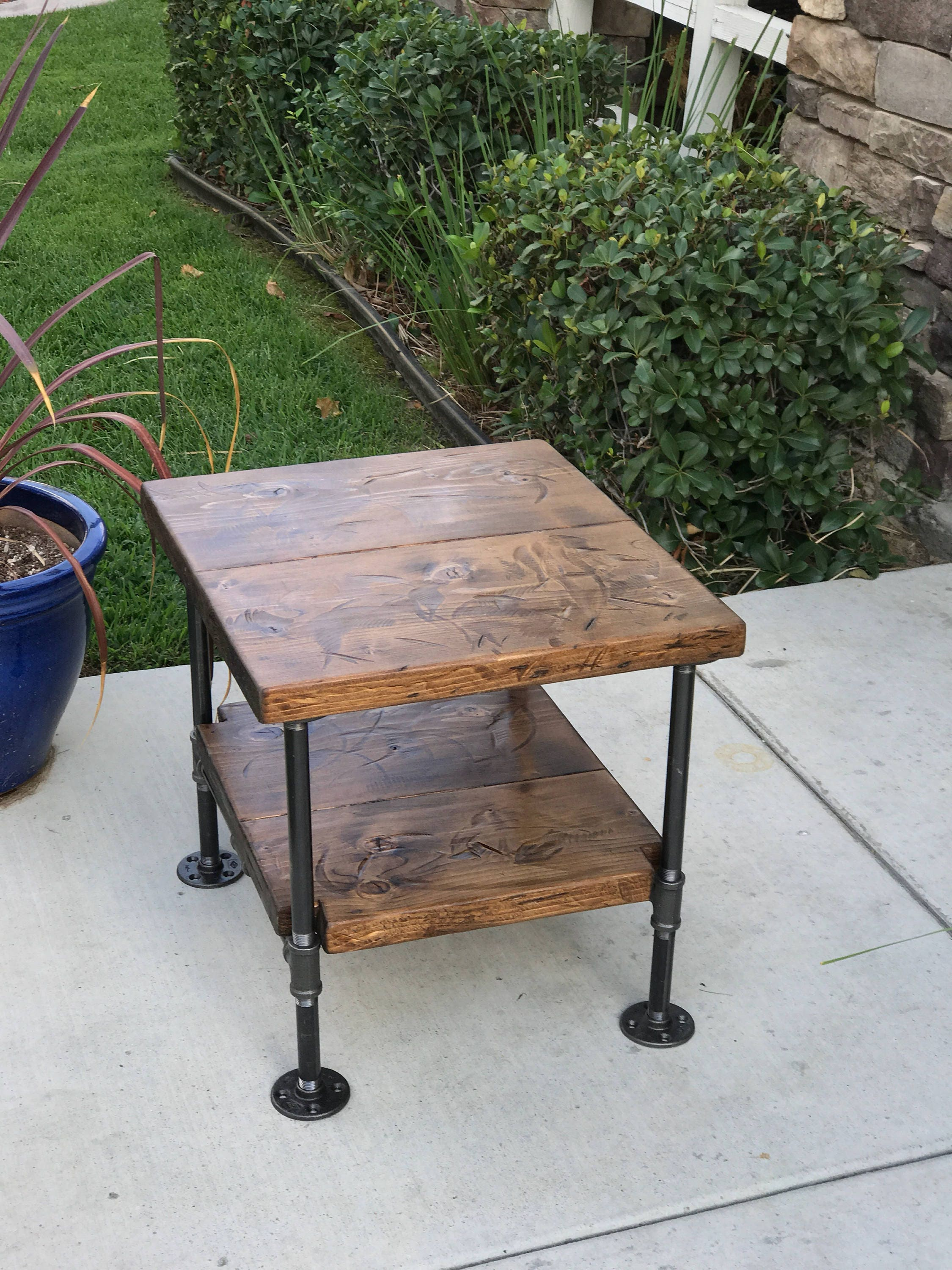 Industrial Table Nightstand Decor Steampunk Rustic Pipe