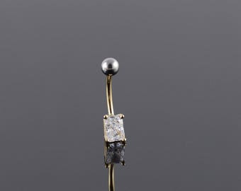 14k Large Emerald Cut CZ Belly Button Ring Gold