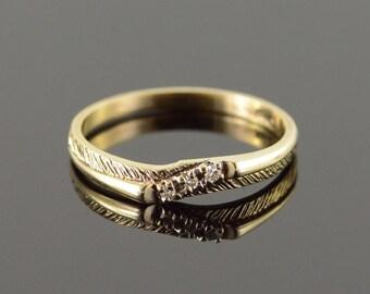 10k Genuine Diamond Accented Diagonal Classic Wedding Band Ring Gold