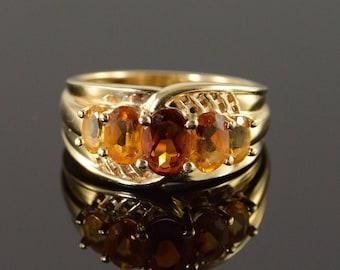 14k 1.70 CTW Citrine 5 Stone Ring Gold