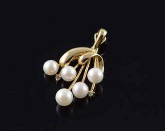 14k 6mm Pearl Dangle Pendant Gold