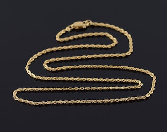 1.6mm Rope Link Chain Fancy Necklace Gold