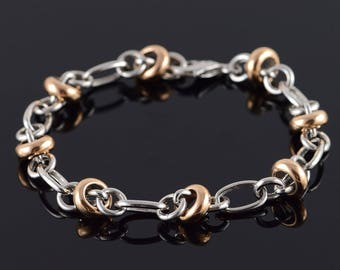 14k HEAVY Fancy Rose Link Accent Bracelet Gold 8""