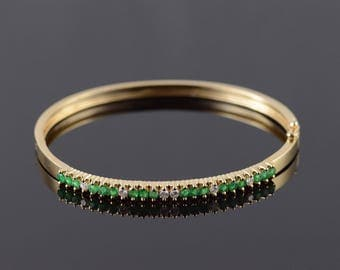 14k 0.70 CTW Emerald Diamond Bangle Hinged Bracelet Gold 2.25""
