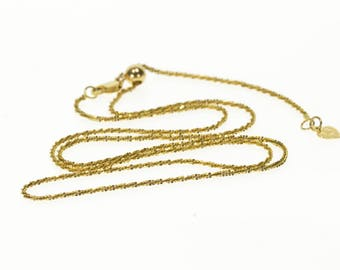 """14k 0.8mm Box Squared Link Chain Necklace Gold 22.25"""""""
