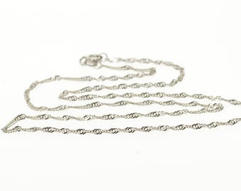 14k 1.6mm Rolling Curb Link Chain Necklace Gold 15.5""