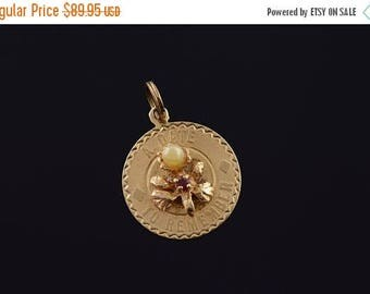 Big SALE A Date To Remember Anniversary Flower Charm/Pendant Gold