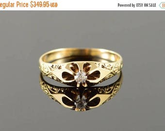 Big SALE 14k 0.10 CT Round Victorian Scoll Embellished Engagement Ring Gold